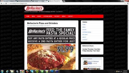 Bellacino's pizza website responsive design