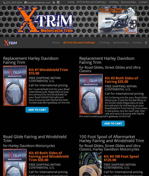 xtrim web design screenshot