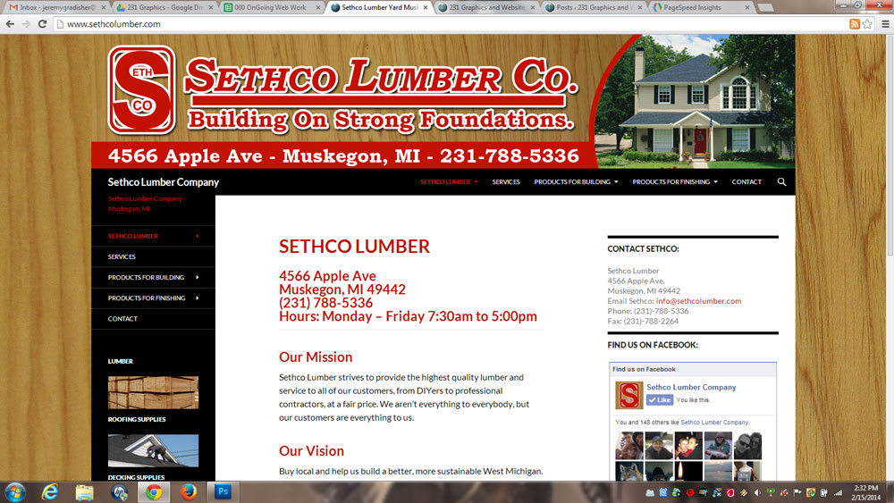 Sethco Lumber Website