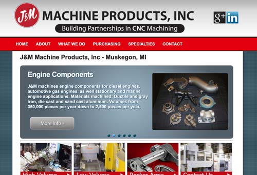 JM manufacturing website screenshot
