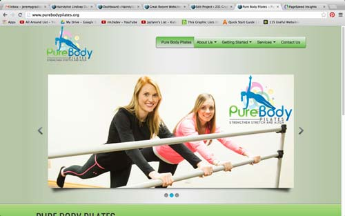 Pure body pilates website screenshot