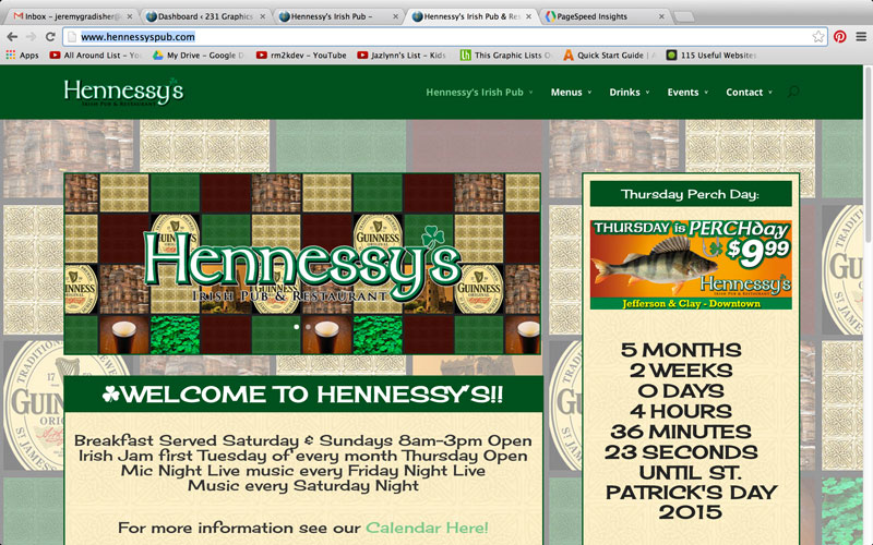 Hennessy's Pub Website