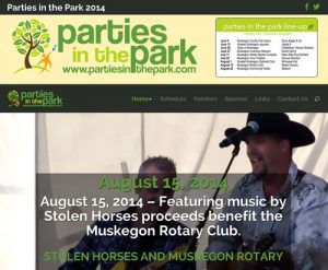 Parties in the Park website Screenshot