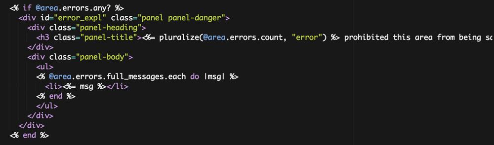 area edit form error code