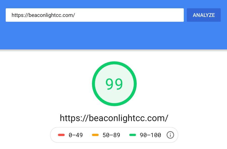Beacon Light page speed analysis