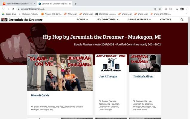 Jeremiah the Dreamer website screenshot