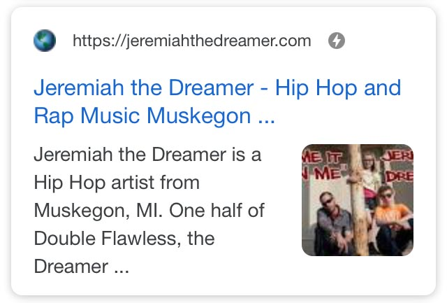 jeremiahthedreamer.com SERPs showing AMP icon