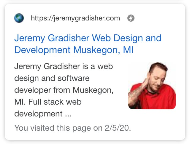 Jeremygradisher.com SERPs showing AMP icon