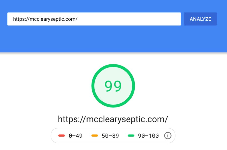 Page speed analysis form Google