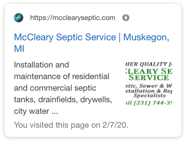McCleary Septic SERPs showing AMP icon