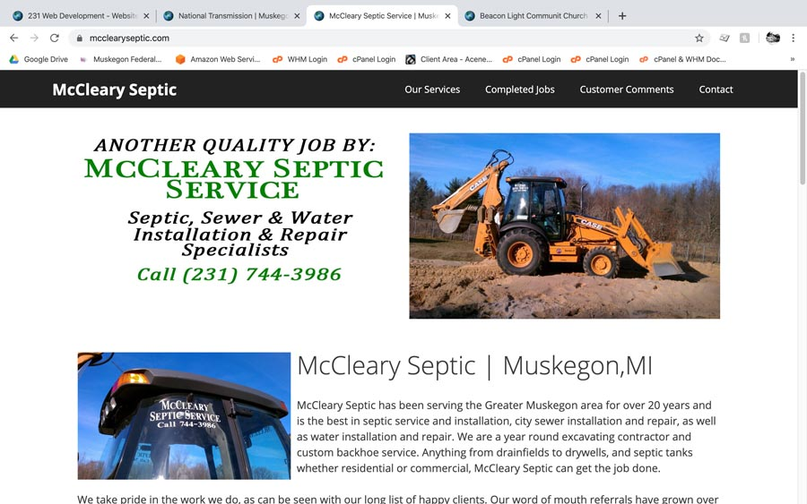 McCleary Septic AMP website