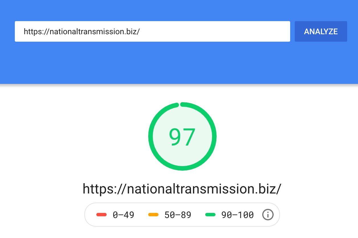 National Transmission page speed analysis